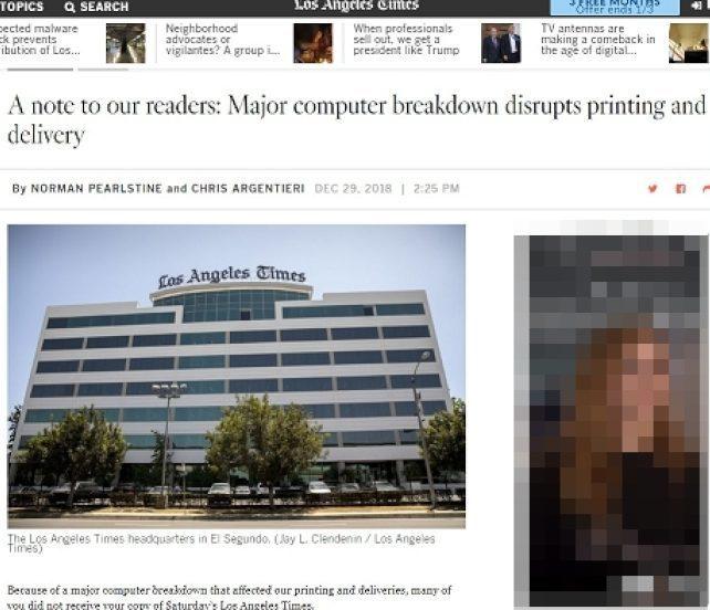 洛杉磯時報日前才在網站上向讀者報告該報遭駭。圖/取自洛杉磯時報網站