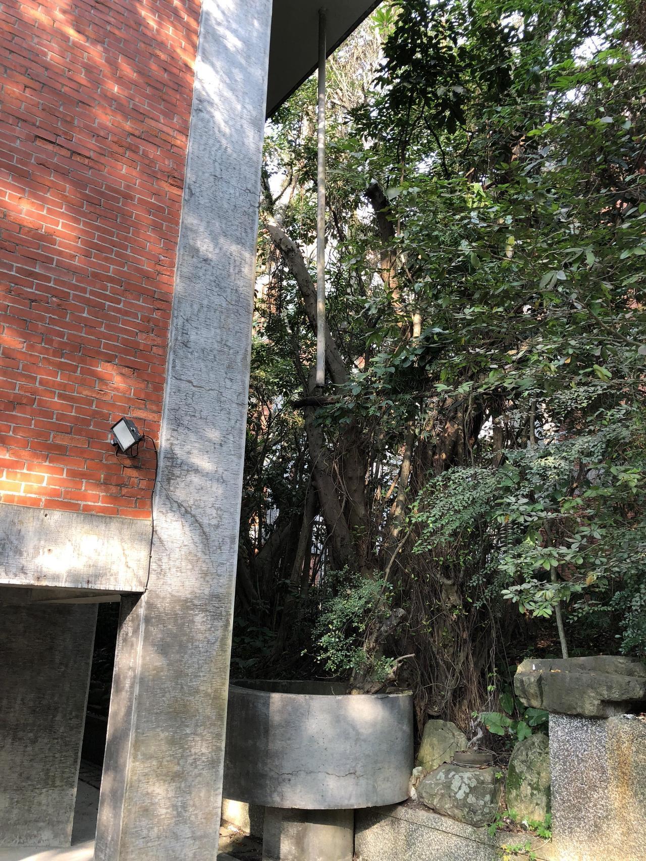 中研院歐美所圖書館觀賞重點,全館外共有四處這類從屋簷連接的排水管,下設圓槽,可隨...