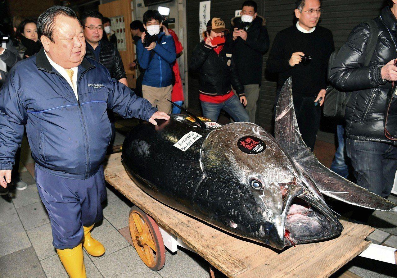 日本黑鮪魚拍賣,「壽司三味」老闆木村清再度創紀錄。美聯社