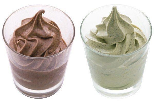 黑烏龍巧克力(左)、黃梔綠茶(右)茶味優格霜淇淋,售價80元(輕巧杯)/150元...
