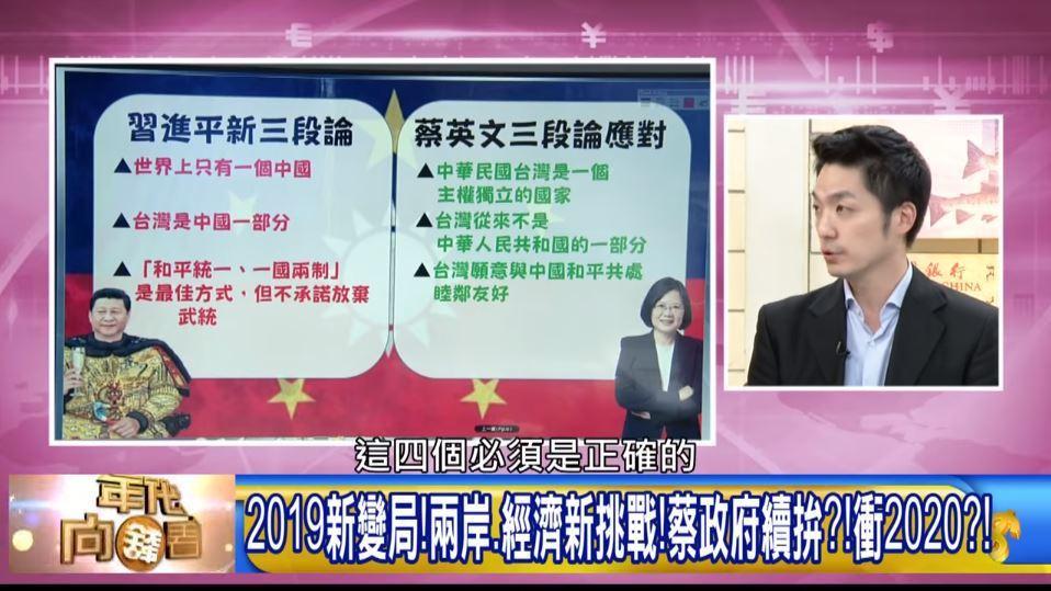 蔣萬安在政論節目「年代向錢看」中分析了蔡英文總統的元旦談話,他認為,蔡英文強調的...