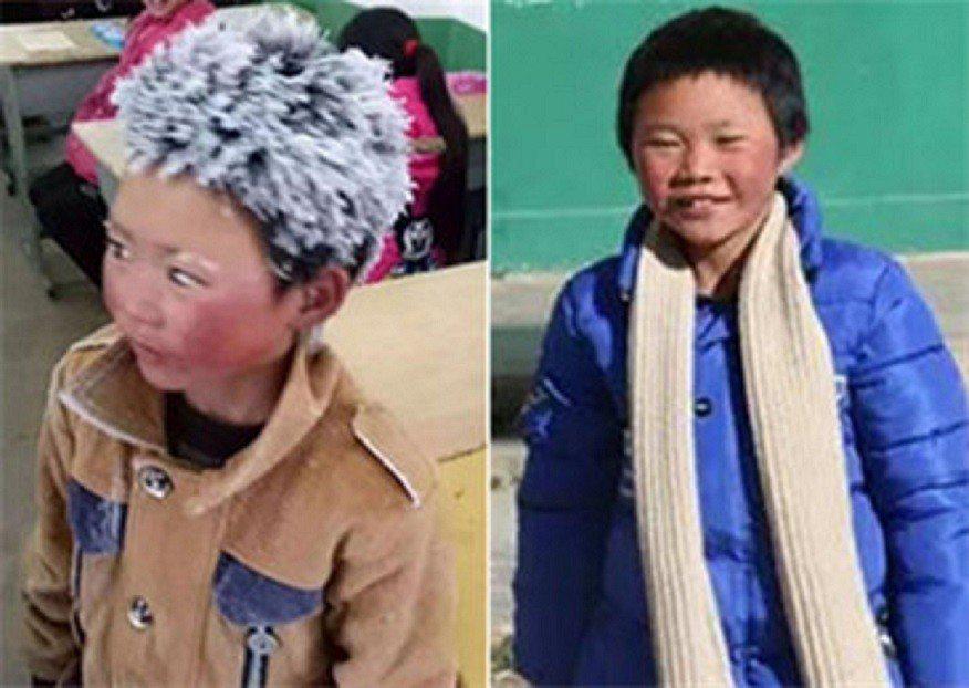 王福滿去年頂著冰霜被稱為「冰花男孩」(左),今年他搬進學校的宿舍。香港文匯報
