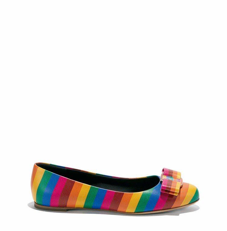VARINA彩虹牛皮平底鞋,24,900元。圖/Ferragamo提供