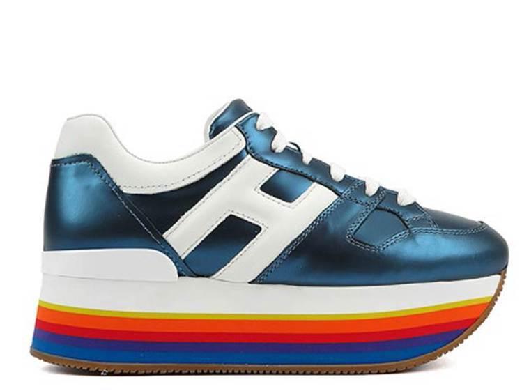 HOGAN MAXI H222藍色鏡面厚底女士休閒鞋,22,600