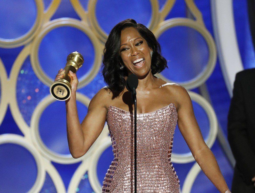 蕾吉娜金恩獲得金球獎電影類最佳女配角。 圖/美聯社