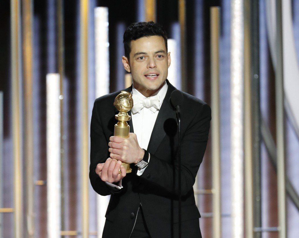 雷米馬力克以「波希米亞狂想曲」獲得金球獎最佳戲劇類影片男主角。 圖/美聯社