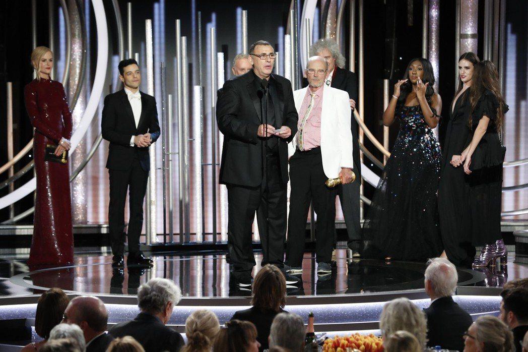 「波希米亞狂想曲」獲得金球獎劇情類最佳影片。 圖/美聯社