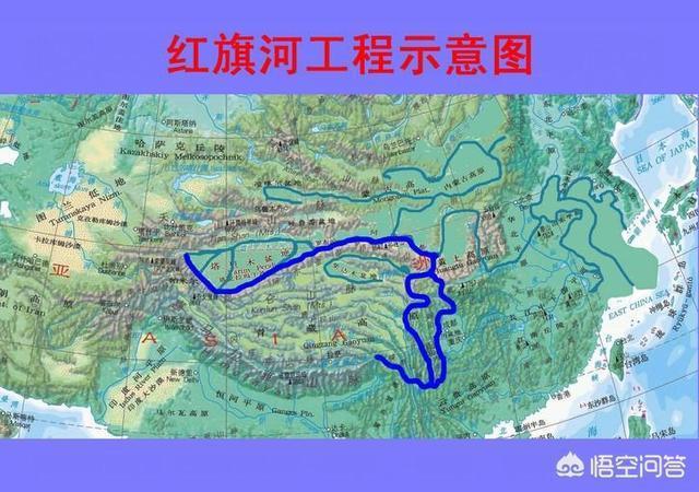 大陸專家稱「藏水北調」可由紅旗河(圖右下方)調水至新疆的塔里木盆地(左上方)。(...