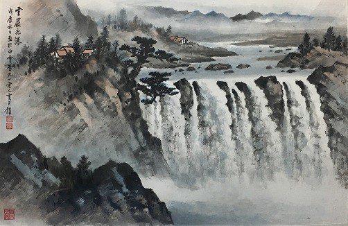 黃君璧『雲巖飛瀑』91歲畫作。 從雲軒畫廊展視中心/提供