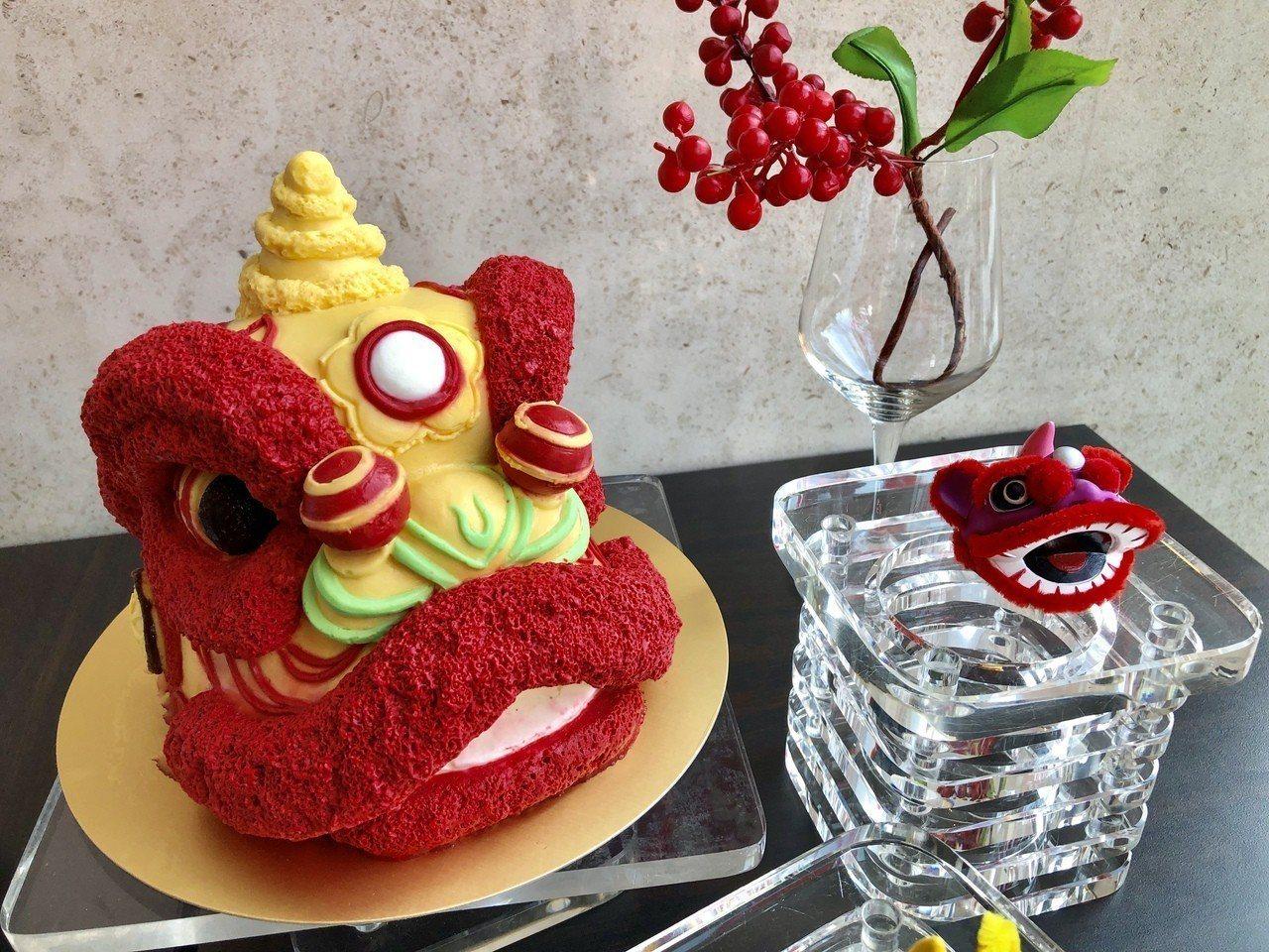「舞獅慶新年」以民俗舞獅為靈感,打造出擁有獅頭討喜吉利外型的美味甜點。記者宋健生...