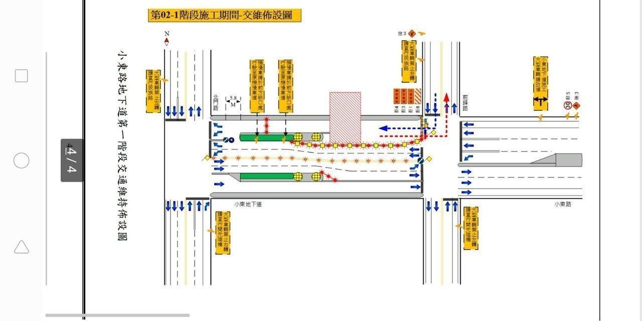 台南市小東路地下道配合鐵路地下化將進行施工,明天起交通管制5個月。圖/台南市警五...
