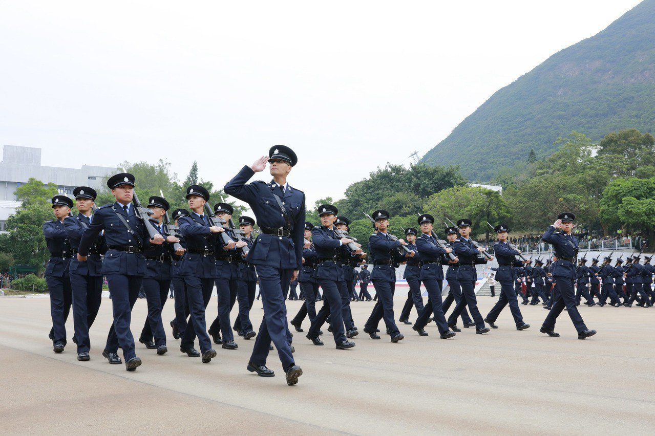 香港警隊是維護社會治安和秩序的重要力量,有力打擊犯罪。圖為警隊會操資料照片。(香...