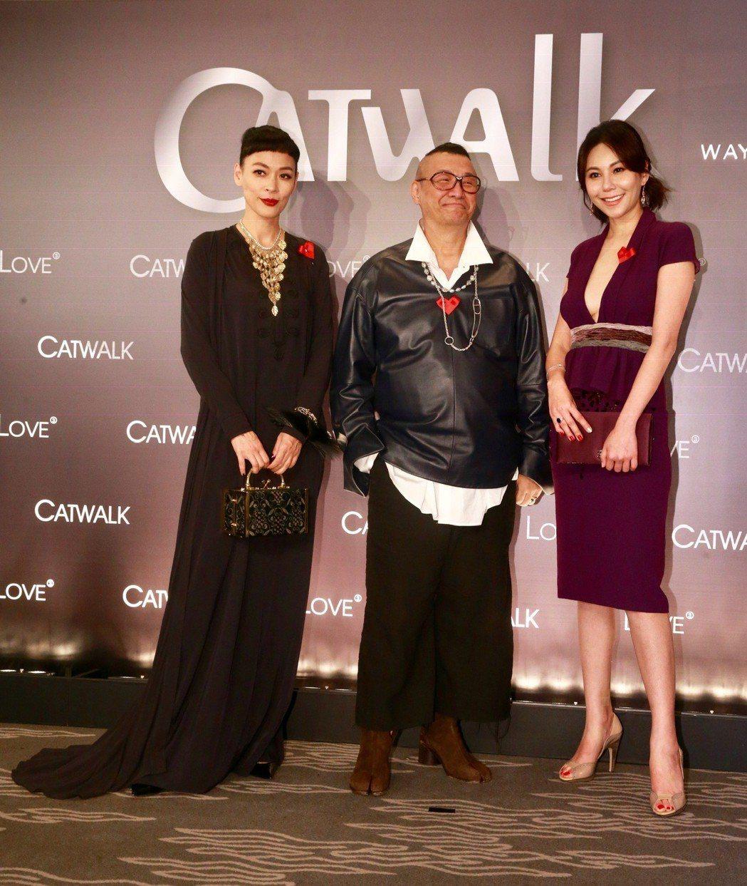凱渥模特經紀公司歡慶33周年慶,王聖芬(左起)、洪偉明、洪曉蕾。記者黃義書/攝影