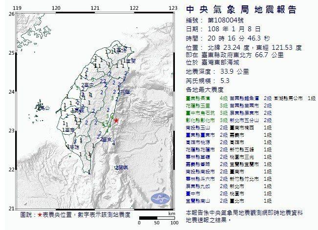 中央氣象局初判4級以上震度地區為台東。圖擷自中央氣象局