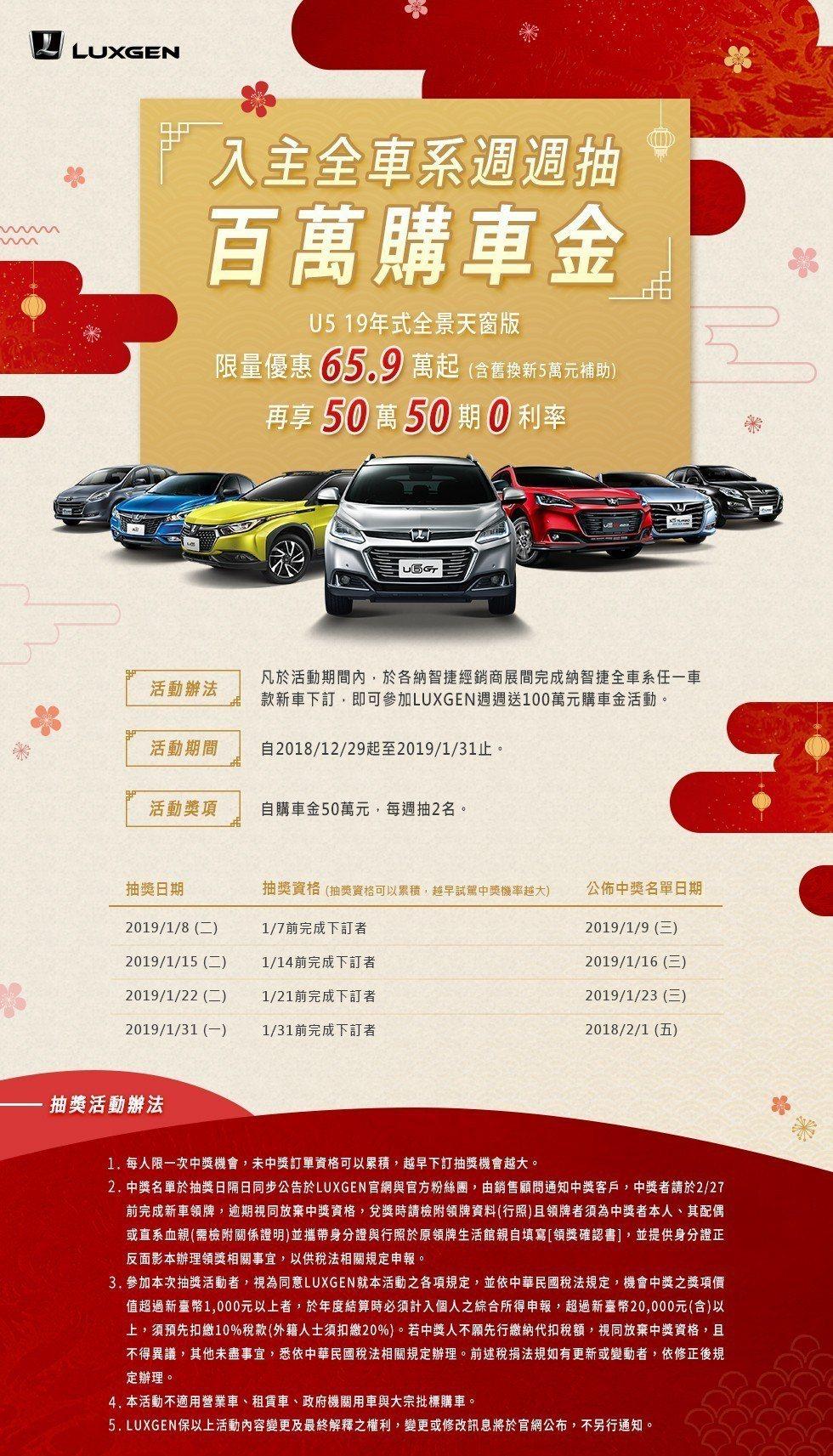LUXGEN入主全車系周周抽百萬購車金。 圖/LUXGEN提供