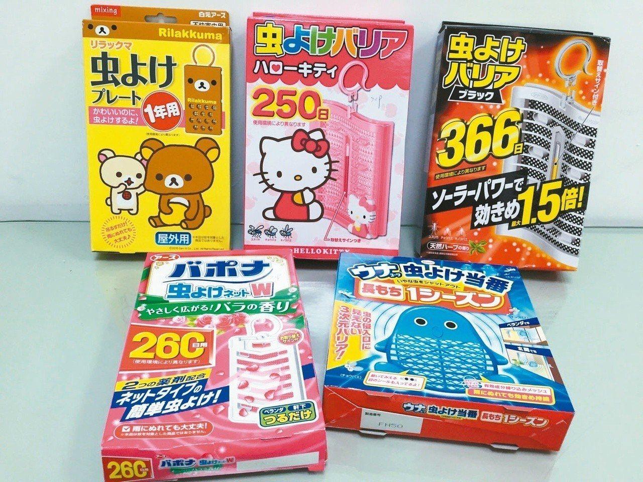 新北市環保局發現,許多民眾不具有環境用藥販售證,卻在網路上販售日本製的卡通造型防...