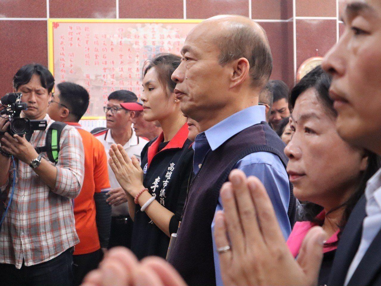 高雄市長韓國瑜今天上午11點前往左營舊城城隍廟參拜。記者張媛榆/攝影