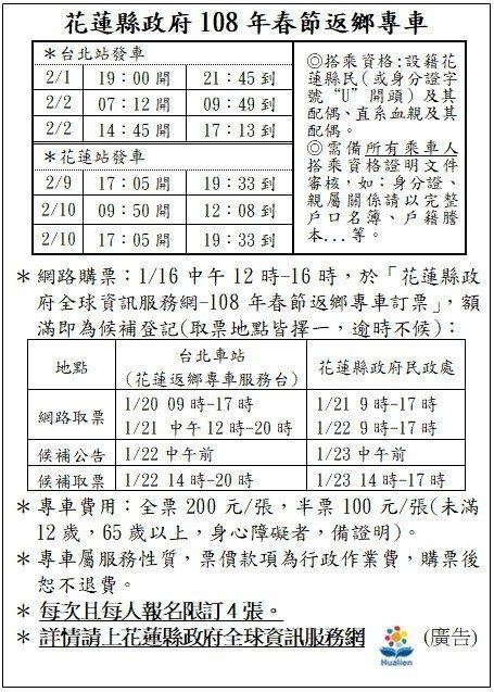 花蓮縣府因應縣民春節返鄉返工需求,申請6列次專車,16日起開賣。圖/花蓮縣府提供