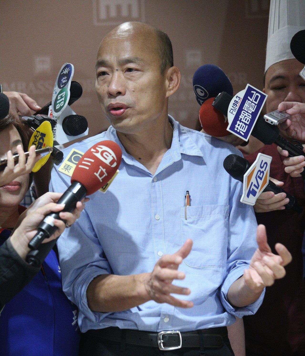 高市長韓國瑜(如圖)何時與台北市長柯文哲舉行「柯韓會」,高市府今說,1月份議會開...
