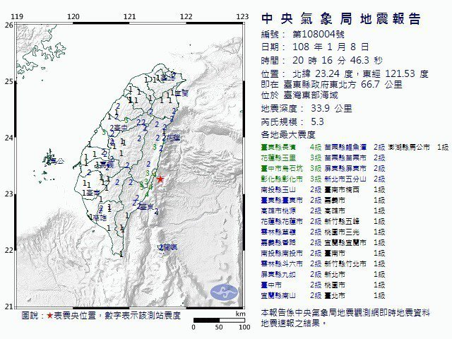 台東縣長濱外海,台東市東北66.7公里海域今天晚上8點16分46秒發生芮氏規模5...