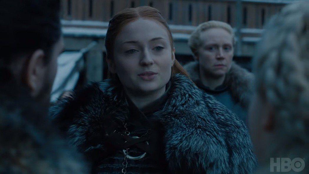 珊莎史塔克口上說臣服,臉上的表情似有玄機。圖/翻攝自YoTube