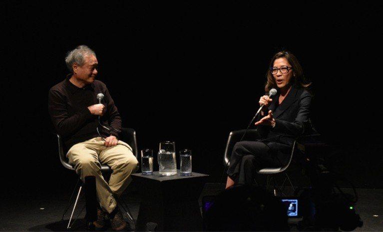 李安(左)與楊紫瓊(右)7日晚間在皇后區移動影像博物館與影迷互動對談。(記者顏嘉...