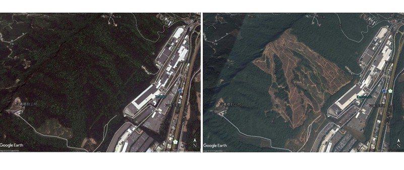 擴廠前的裕隆汽車三義廠空照圖,左圖攝於2011年,右圖攝於2014年。 圖/動物當代思潮提供