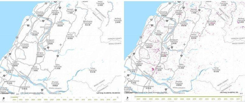 苗栗縣森林消失的區塊,左圖為2001年,右圖為2017年。 圖/動物當代思潮提供;資料來源/Global Forest Watch