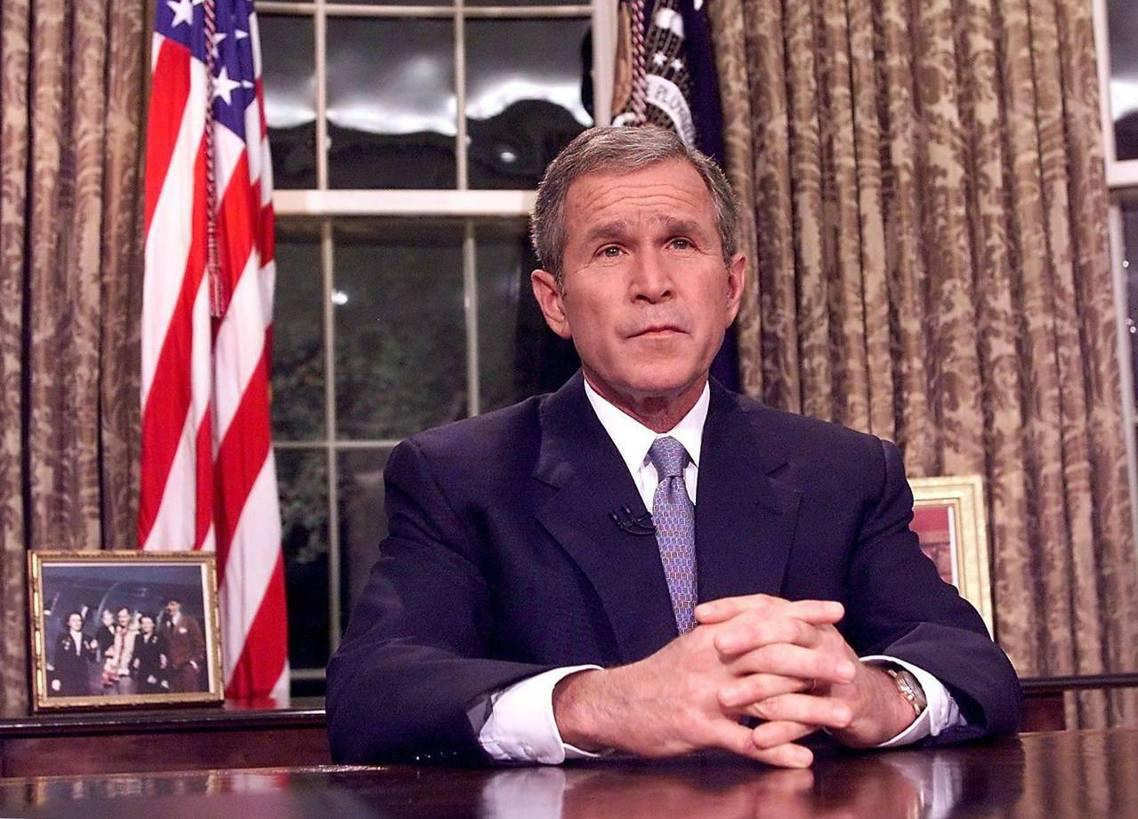 小布希在「911事件」後的公開談話。 圖/法新社