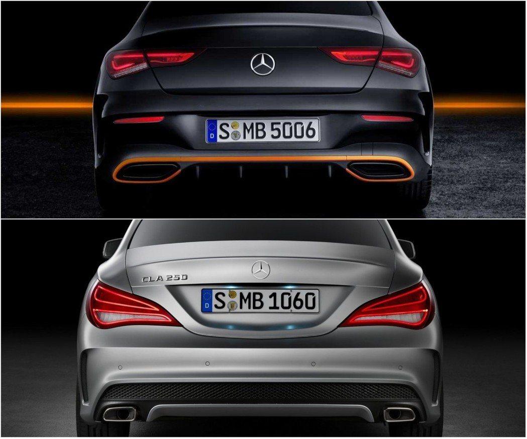 以尾燈來說還是上一代CLA(圖下)比較有獨特辨識性。 摘自Mercedes