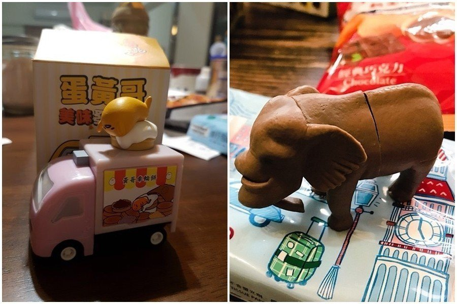 全家2019新春199元福袋內有蛋黃哥與戽斗星球的玩具 圖片來源/PTT