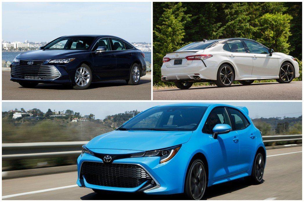 Toyota Avalon與Toyota Corolla Hatchback是品牌唯二年度銷量有所成長的一般乘用車型,而品牌相當熱銷的Camry,在2018年的銷量出現了下跌的跡象。圖皆為美規車型。 摘自Toyota