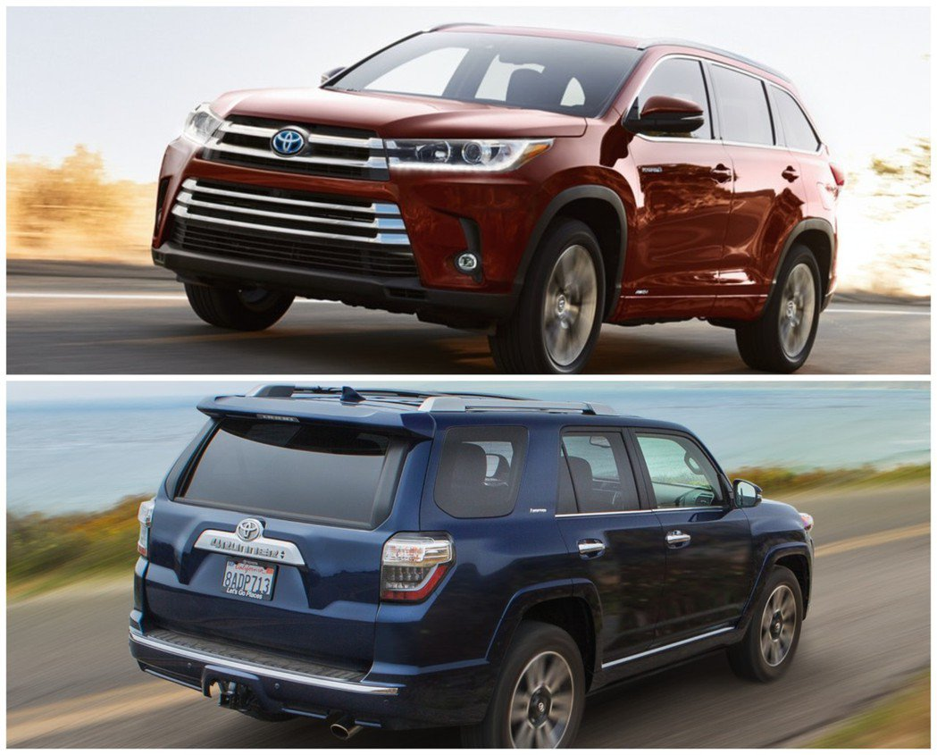 Toyota Highlander(上圖)與4Runner(下圖),兩款大型休旅去年在北美市場也交付了不少數量。 摘自Toyota