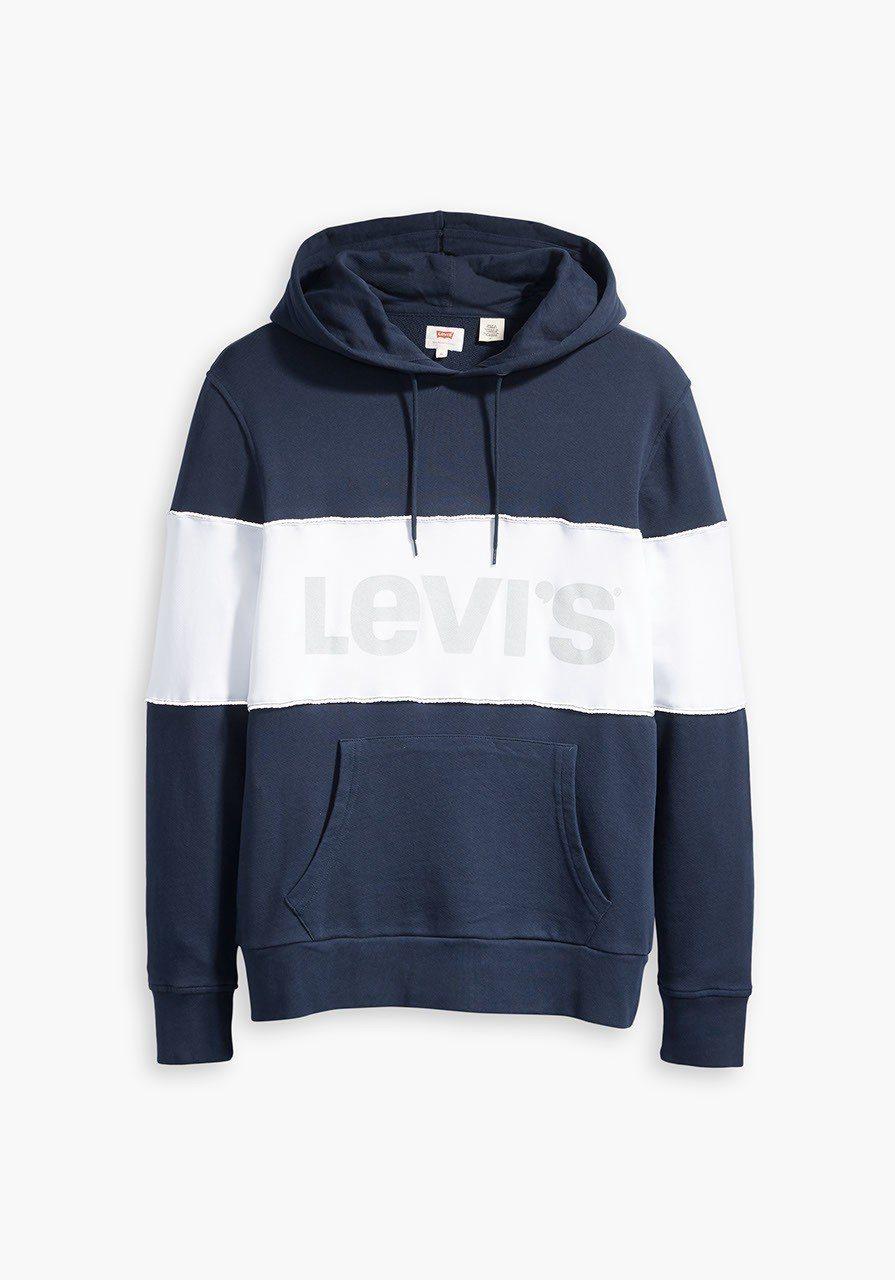 Levis 文字Logo藍白拼色連帽上衣,2,990元。圖/Levis提供