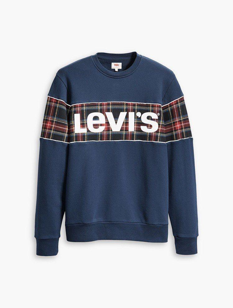 Levis潮流格紋Logo圓領衫,2,990元。圖/Levis提供