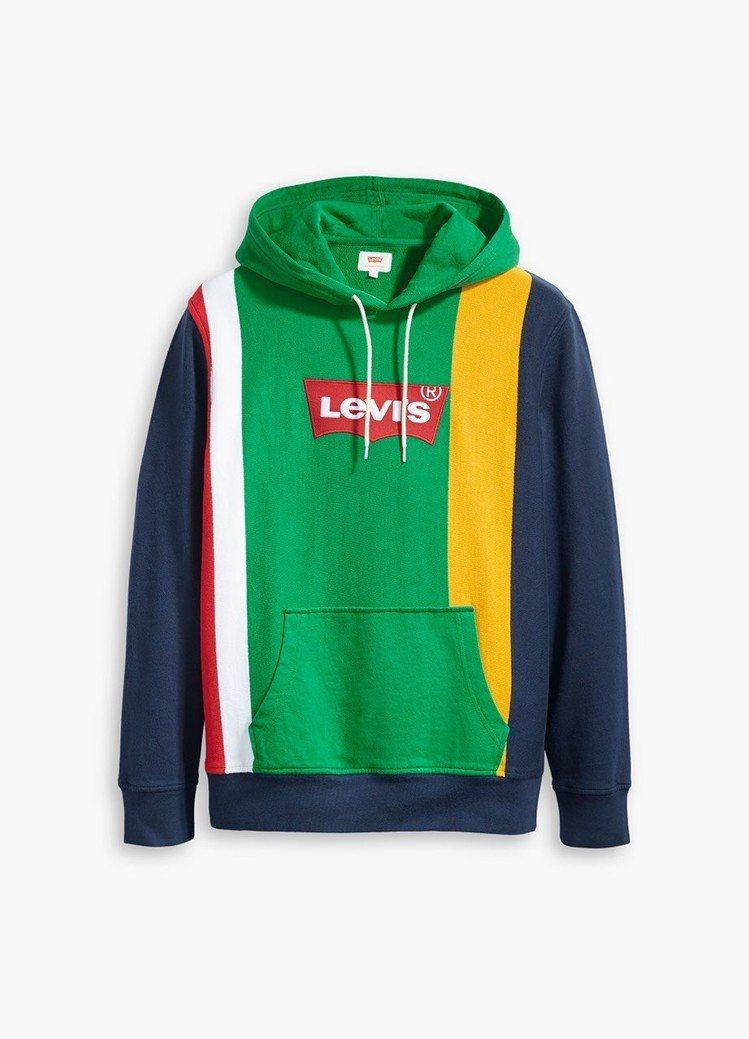 Levis活潑拼色Logo連帽上衣,3,290元。圖/Levis提供
