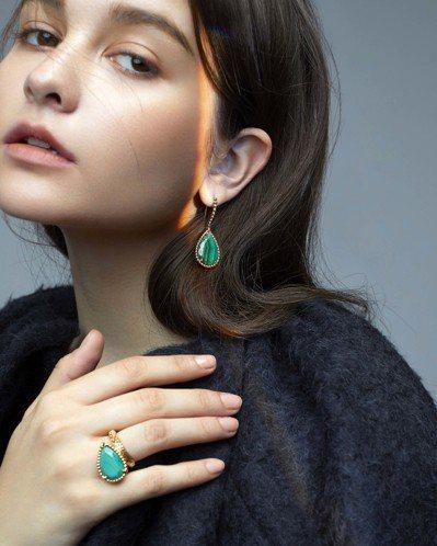 寶詩龍Serpent Bohème系列黃K金孔雀石珠寶,耳環32萬6,000元;...