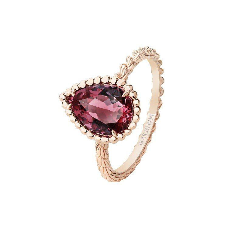 寶詩龍Serpent Bohème系列戒指,玫瑰金鑲嵌1顆梨形玫瑰榴石約1.90...