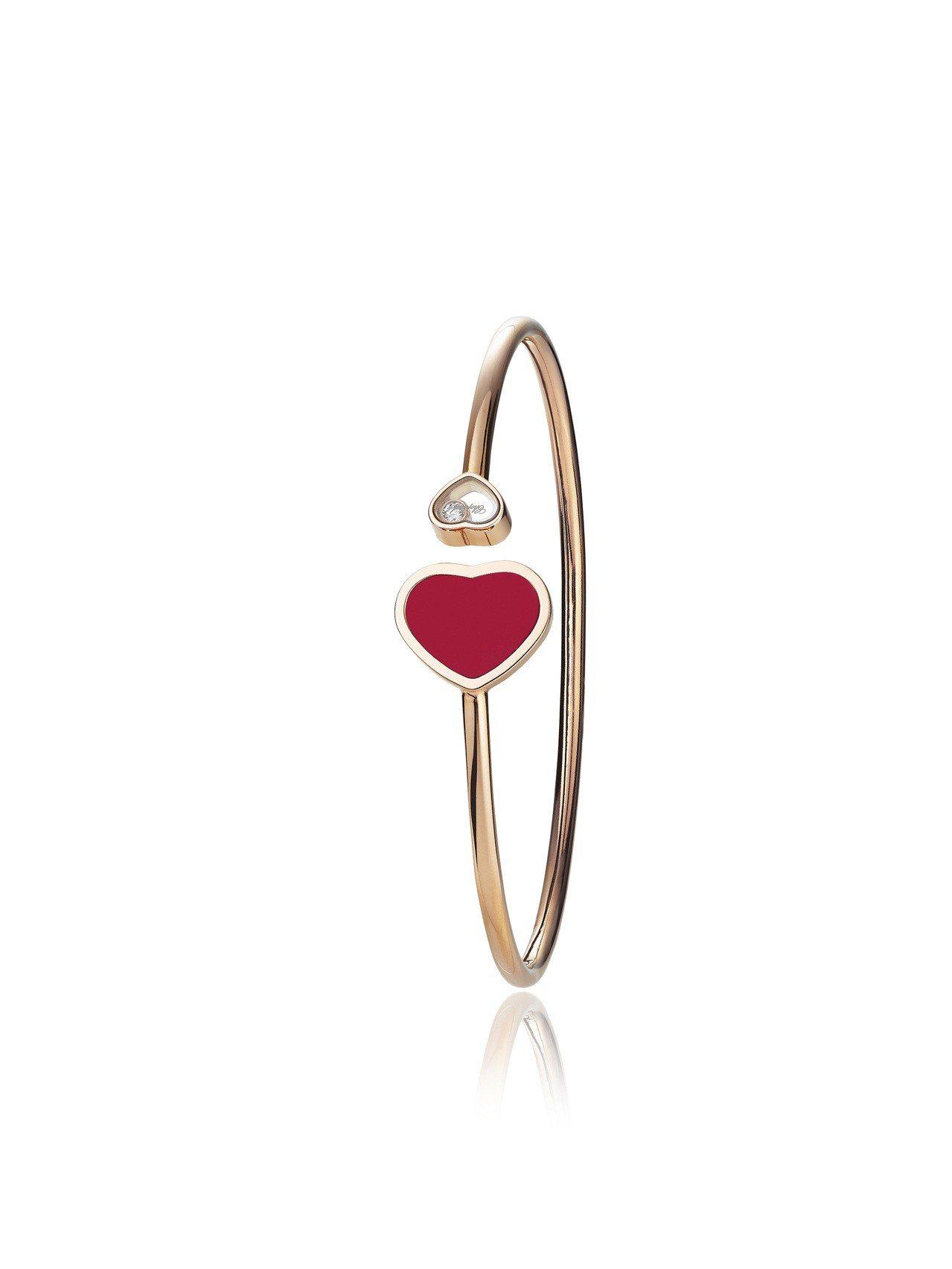 Happy Hearts系列手鐲,18K玫瑰金鑲嵌珍珊瑚紅與1顆滑動鑽石,10萬...