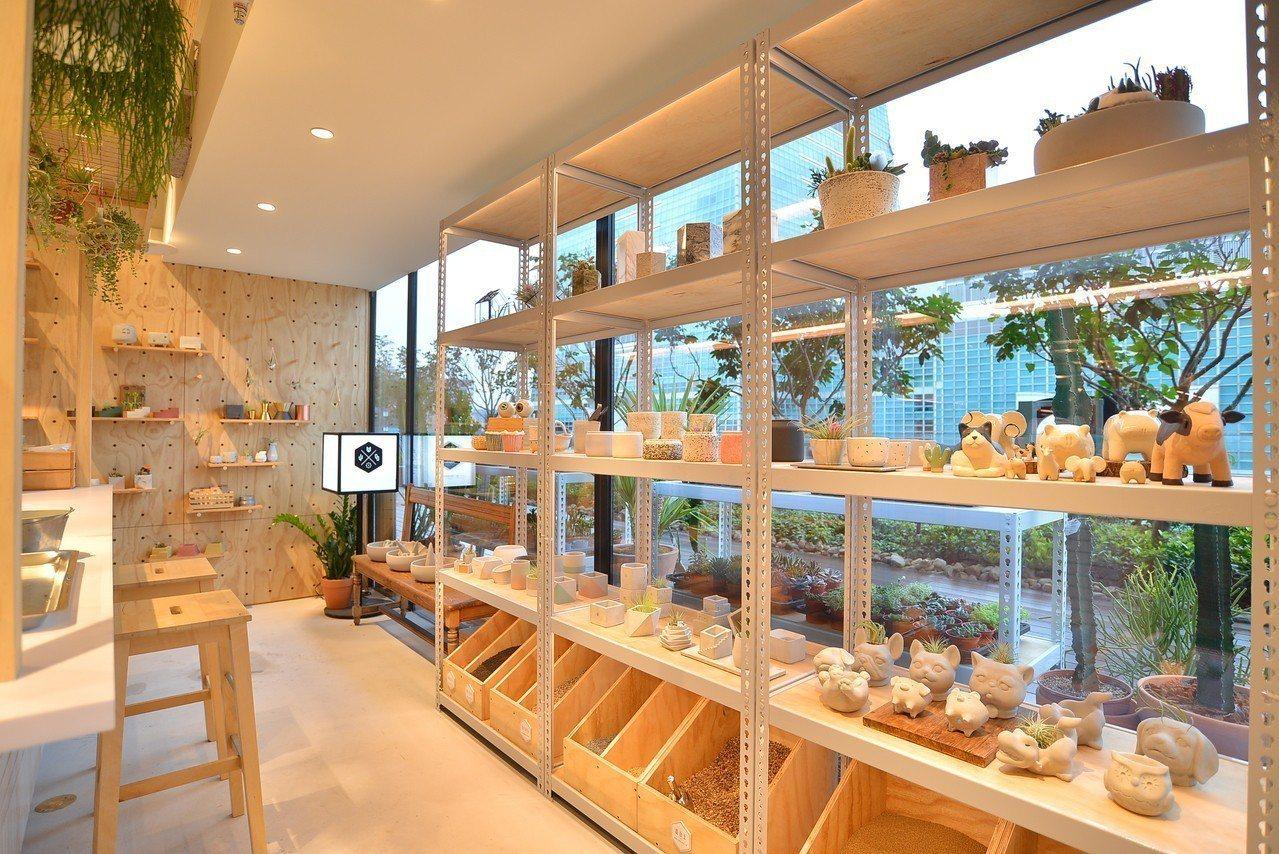 現場也有與大安旗艦店相同可挑選植物、盆器組盆的服務。圖/有肉提供