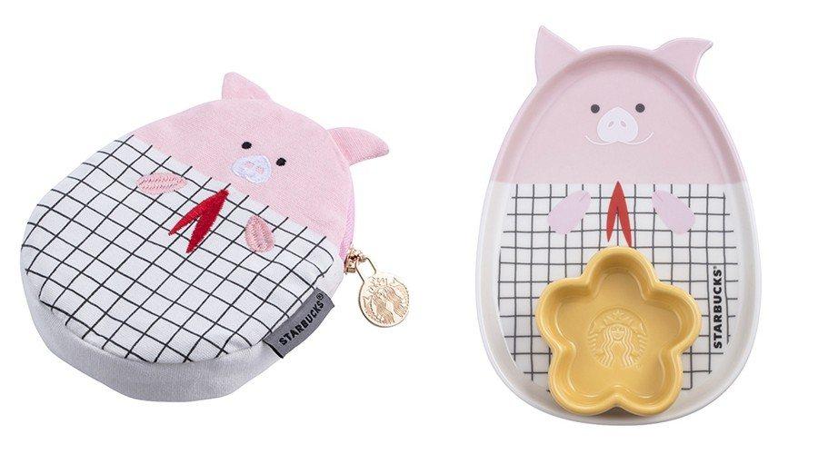 格紋小豬多功能包(左),售價300元;小豬捧花瓷盤組(右),售價1,000元。圖...