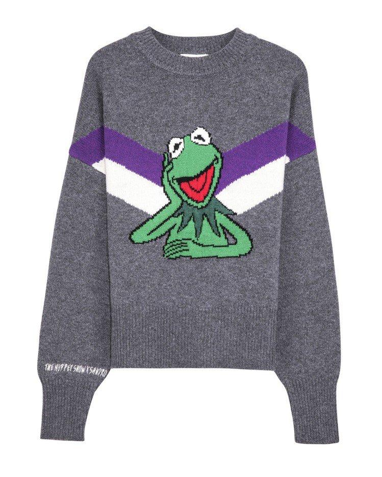 The Muppet Show X sandro科米蛙圖騰灰色針織衫,售價10,...