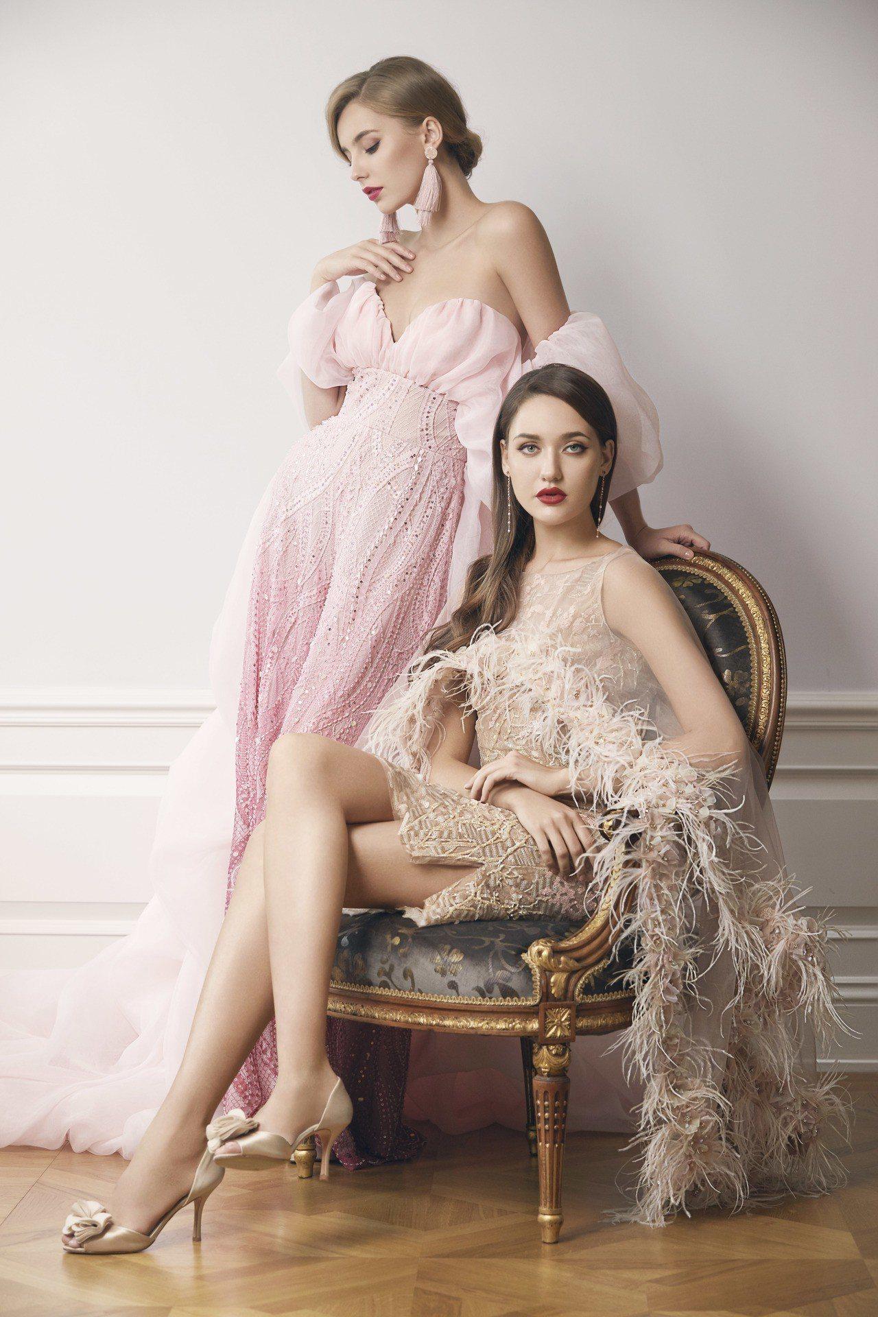 漸層粉雲朵蕾絲褲裝(左)、裸粉刺繡蕾絲雞尾酒小禮服。圖/Jasmine Gall...