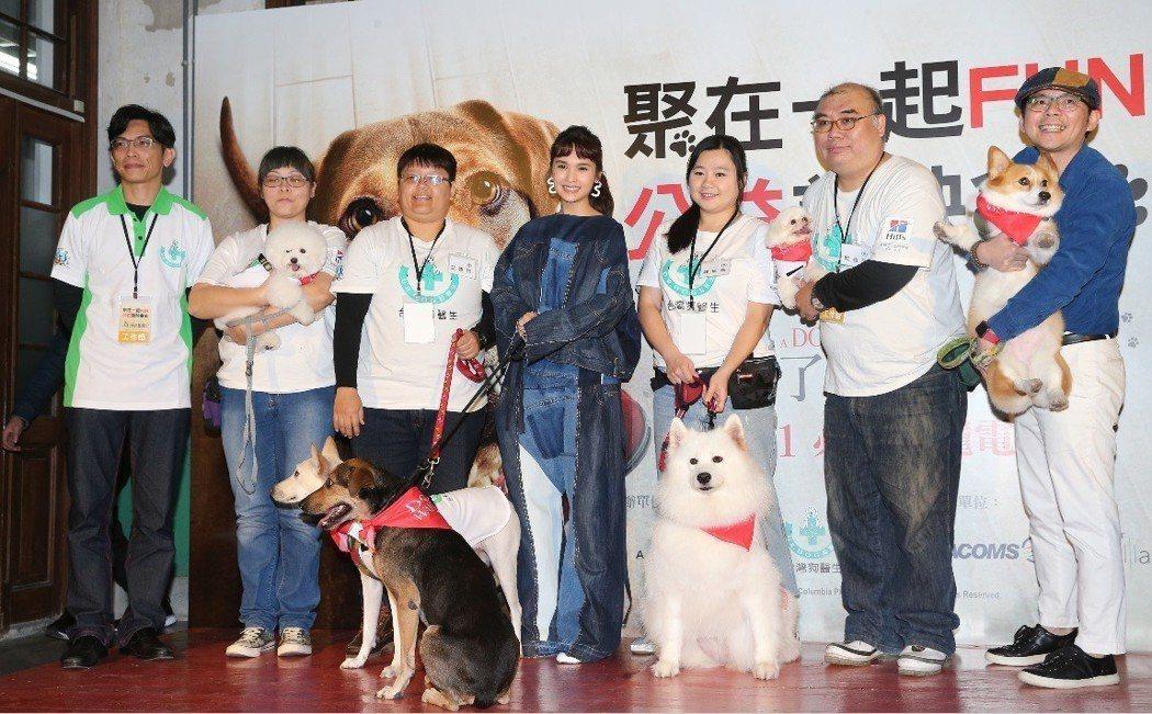 楊丞琳出席「為了與你相聚」公益首映會,開心與一群可愛的狗狗相聚。記者徐兆玄/攝影