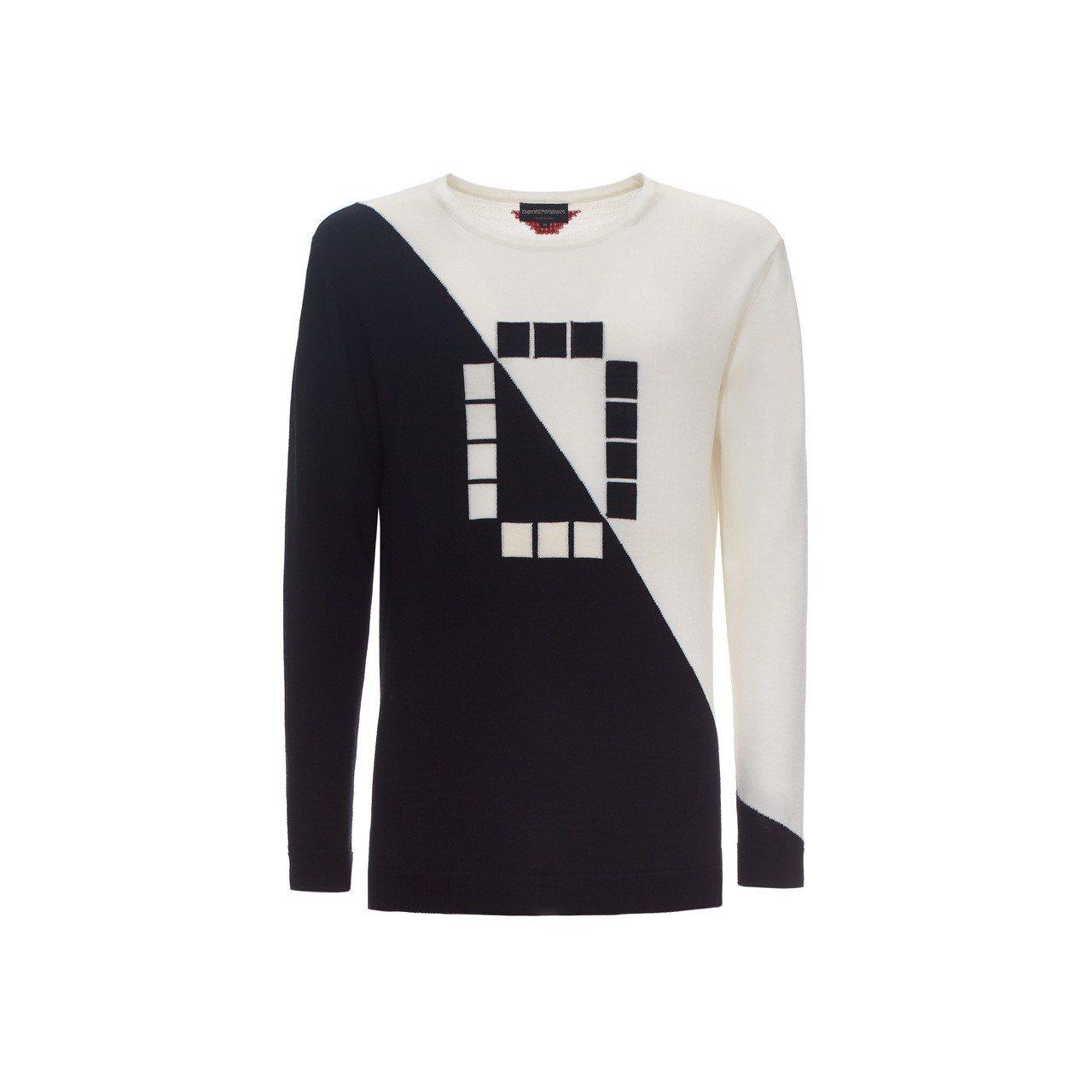 獨家數字系列0號撞色拼接毛衣,26,800元。圖/嘉裕西服提供