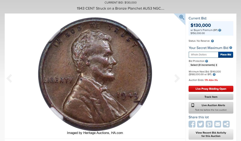 1943年美國鑄幣廠的錯誤,讓當時流入市面的幾枚美分銅幣,成為現今人們眼中的珍寶...