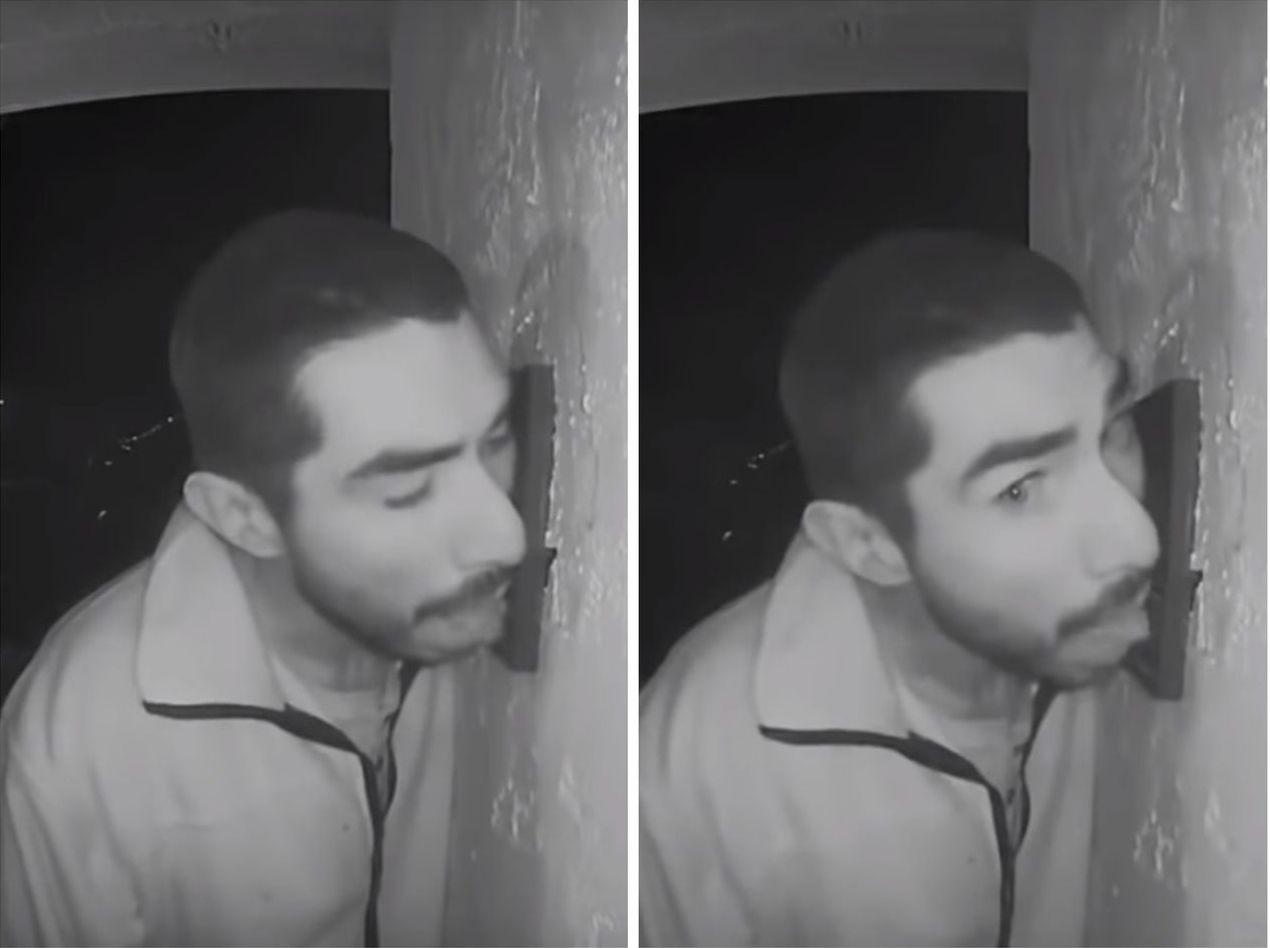 33歲的美國男子於凌晨兩點闖入他人家門前,竟用舌頭狂舔別人家的門鈴。圖片來源/C...