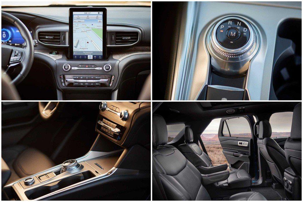 第六代Ford Explorer採用旋鈕式排檔,中控亦配置了如同平板電腦般的10.1吋觸控螢幕。 摘自Ford