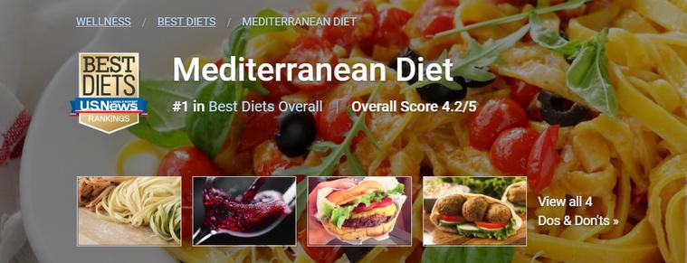 地中海飲食(Mediterranean Diet) 圖片截自「美國新聞與世界報導...