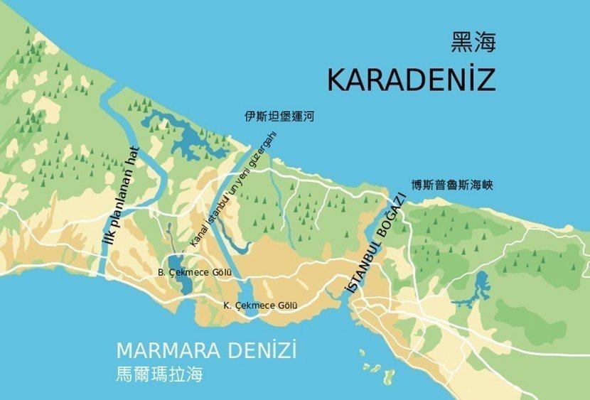根據計畫,運河將連結馬爾瑪拉海與黑海,原本因博斯普魯斯海峽而分為歐洲岸、亞洲岸的...